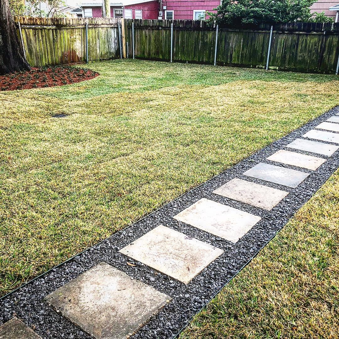 New Sod, walkway with aggregate and cement pavers