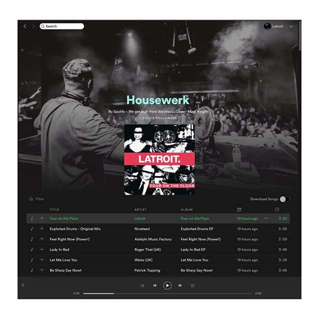 The #housewerk playlist on @spotify is one of the world's preeminent dance music playlists, with a subscribership of 1.3mil+ dance music fans, (myself included), curated by veteran dance music enthusiast @austinkramer.  To be included on this playlist is a high honor indeed, and even more so to be placed first.⠀ ⠀ @thejasonbentley at @kcrw was the first supporter of the song, frequently playing it in its demo form 6 months ago, reminding me that I really should get around to finishing it at some point. Then @lizarichardson & @djraulcampos.⠀ ⠀ Here we are now, with the support of my friends & collaborators, including but not limited to, @kaskade @davidguetta @kevinsaunderson @idriselba @richardvission @leyouth @oliverheldens @cidmusic @seven20group @awal @kobaltmusic @yourarmyusa @yourarmy_  @mattgeecee @lliamtaylor @priscilla__j @rustroofficial @pioneerdjusa @pioneerdjglobal @pioneerdjjpn @kellypprojects @nathanhoy⠀ ⠀ Thanks for the support, everyone.⠀ .⠀ .⠀ .⠀ .⠀ #spotifyplaylists #HouseOfLatroit #newmusicfriday #nowplaying #outnow #housemusic #dancemusic #electronicdancemusic #artistcollective