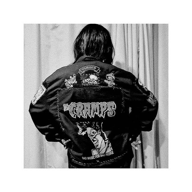 The Cramps were an American punk rock band from Sacramento, CA, fronted by vocalist Lux Interior. Popular underground battle rapper @germfreeworld wears a custom bomber jacket celebrating the iconic artwork of Steve Blickenstaff as featured on the cramps compilation album 'Bad Music for Bad People'