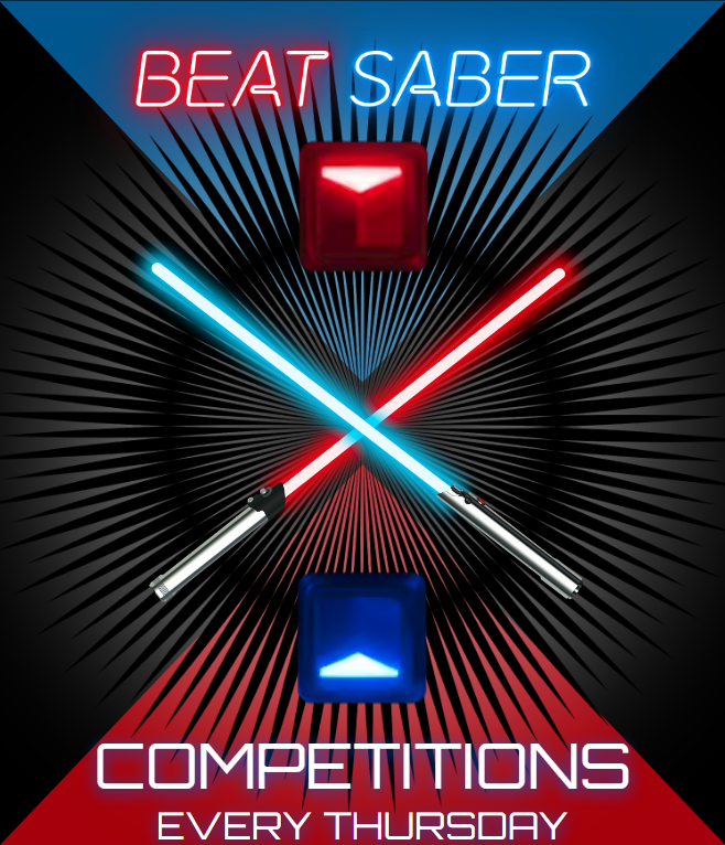 BEAT SABER COMPETITIONS - Come to Virtual Reality CDA to compete in our fun filled Beat Saber competions every Thursday. Follow us on our social media pages for competition details!