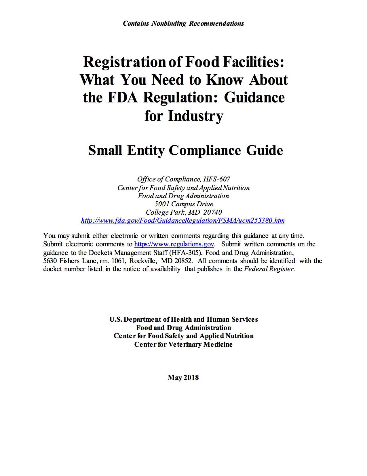 FDA Guidance Document: Facility Registration