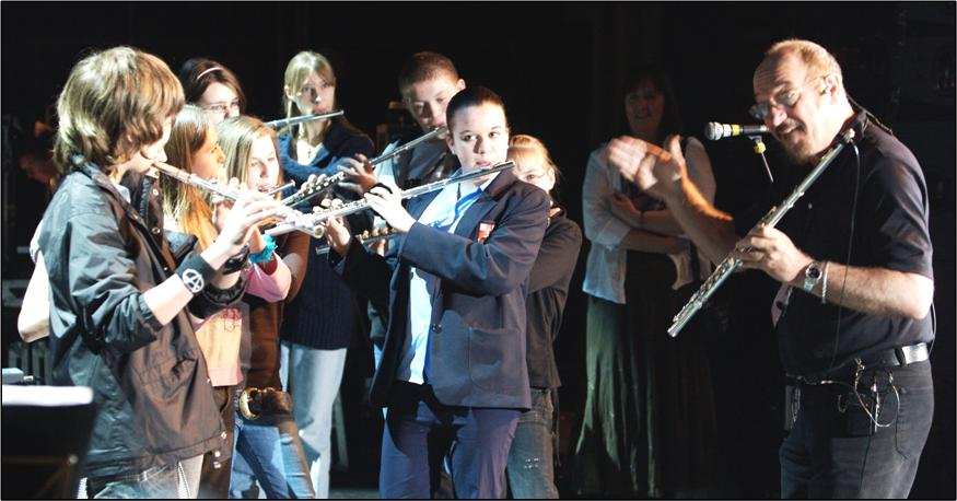 Ian Anderson with Students