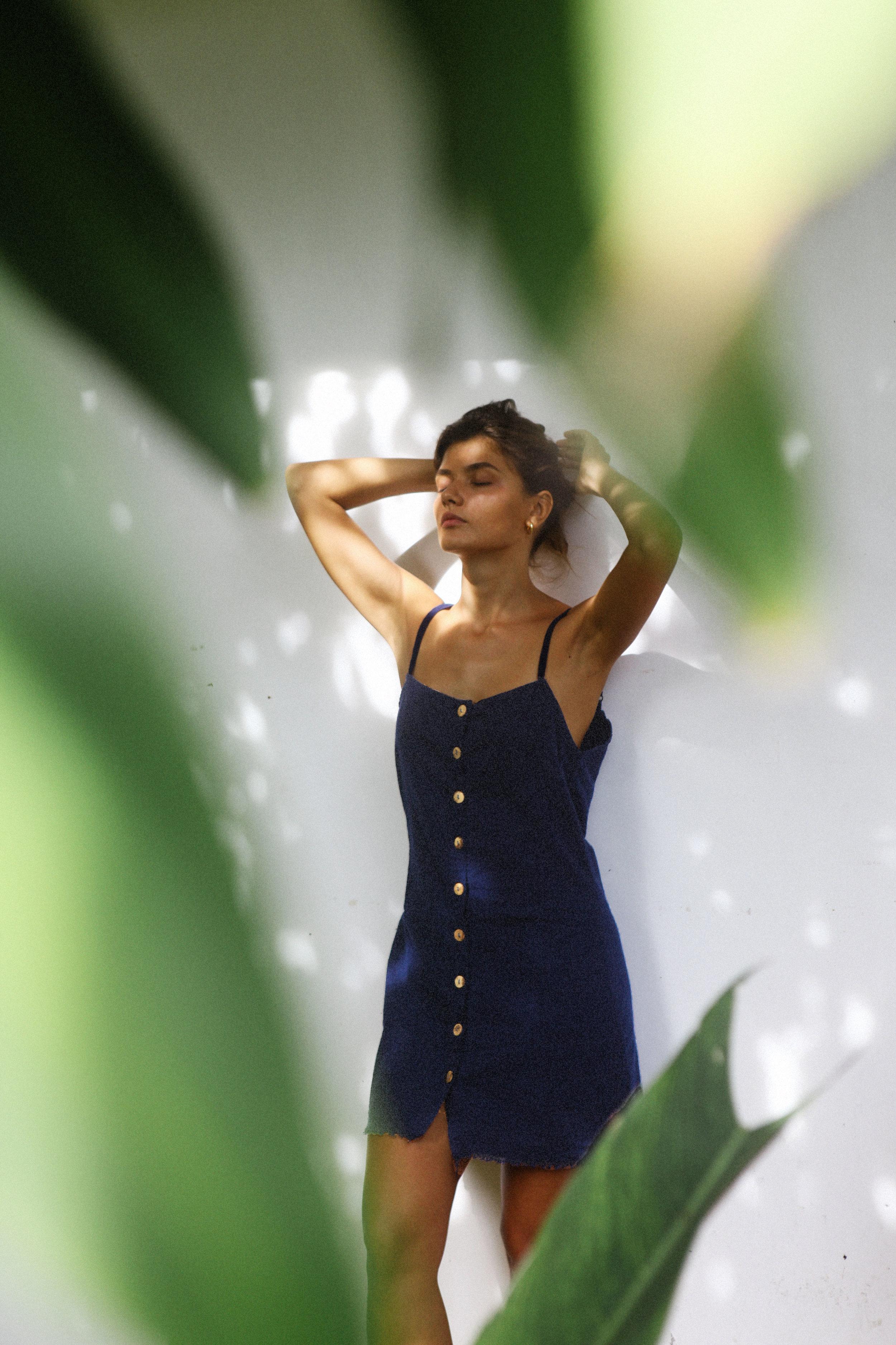 Dress linen blue