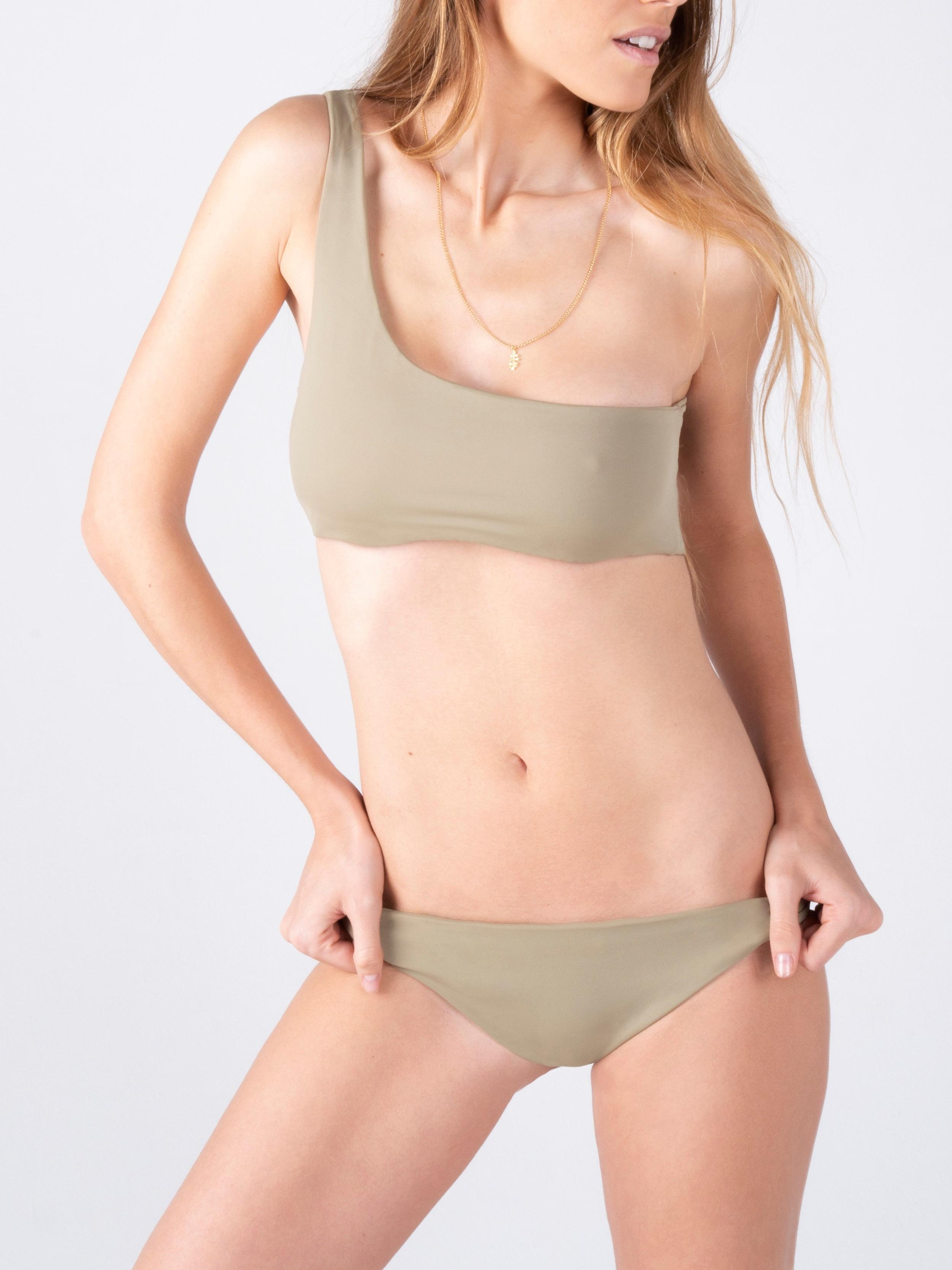 Green one shoulder bikini