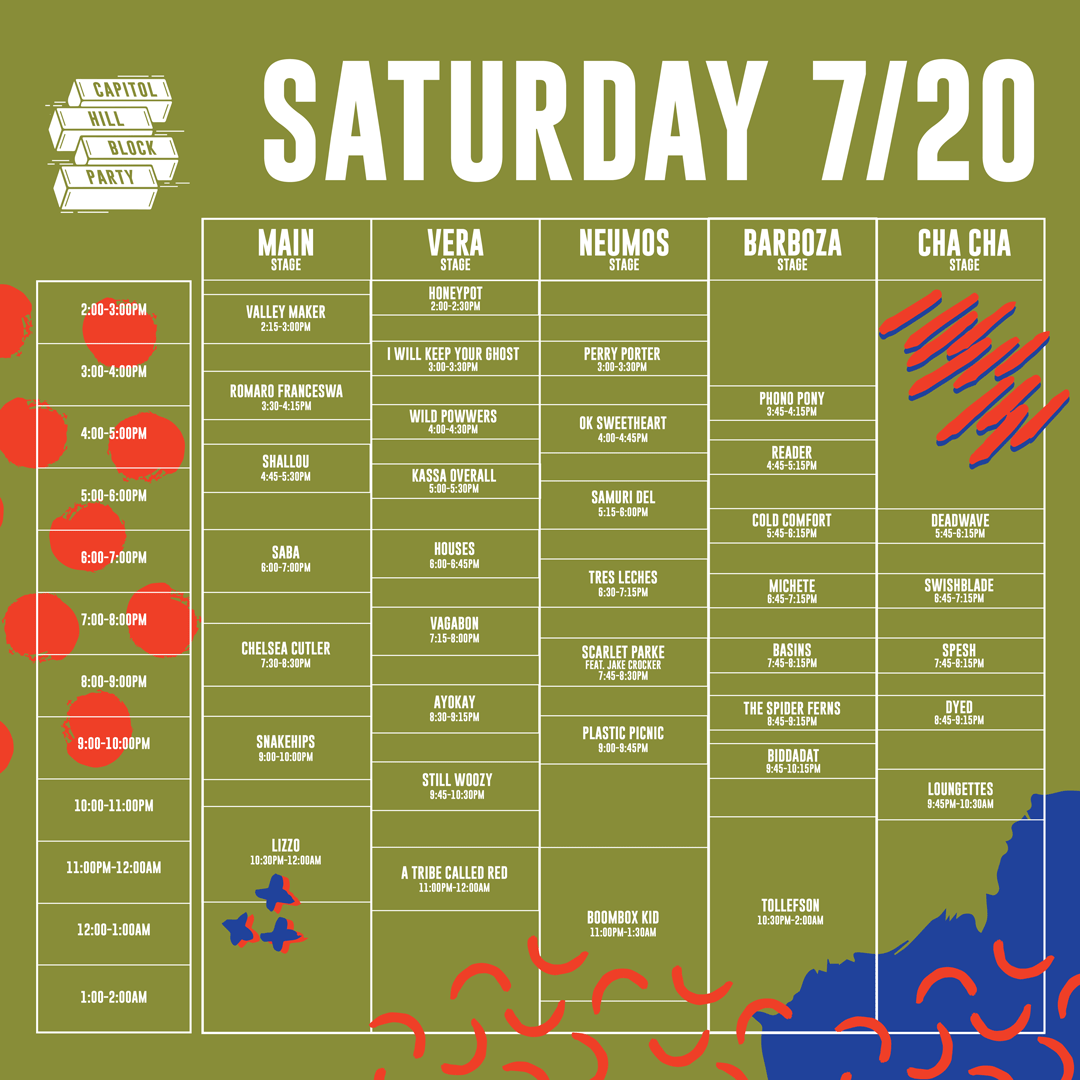 Schedule — Capitol Hill Block Party