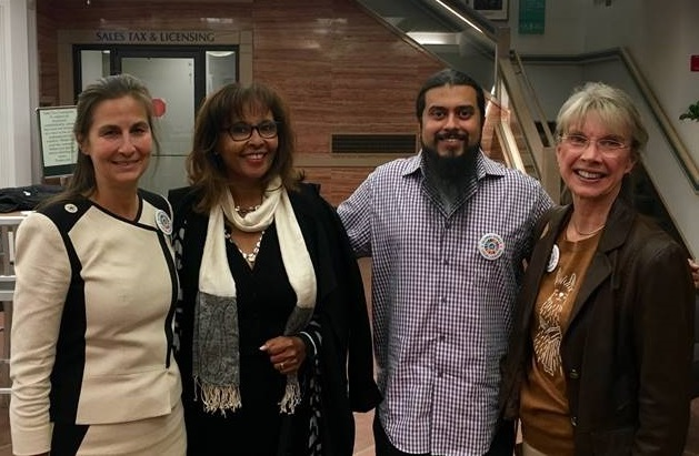 It was a proud moment for WOCOBOCO and the women of Boulder County when the  Boulder City Council signed on to Cities for CECAW . Members Veronica Hrutkay (far left) and Kay Meyer (far right) received the support of Tinbet Tinstman, UNA (middle left) and Nikhil Mankekar (middle right) of the Boulder Human Relations Commission.