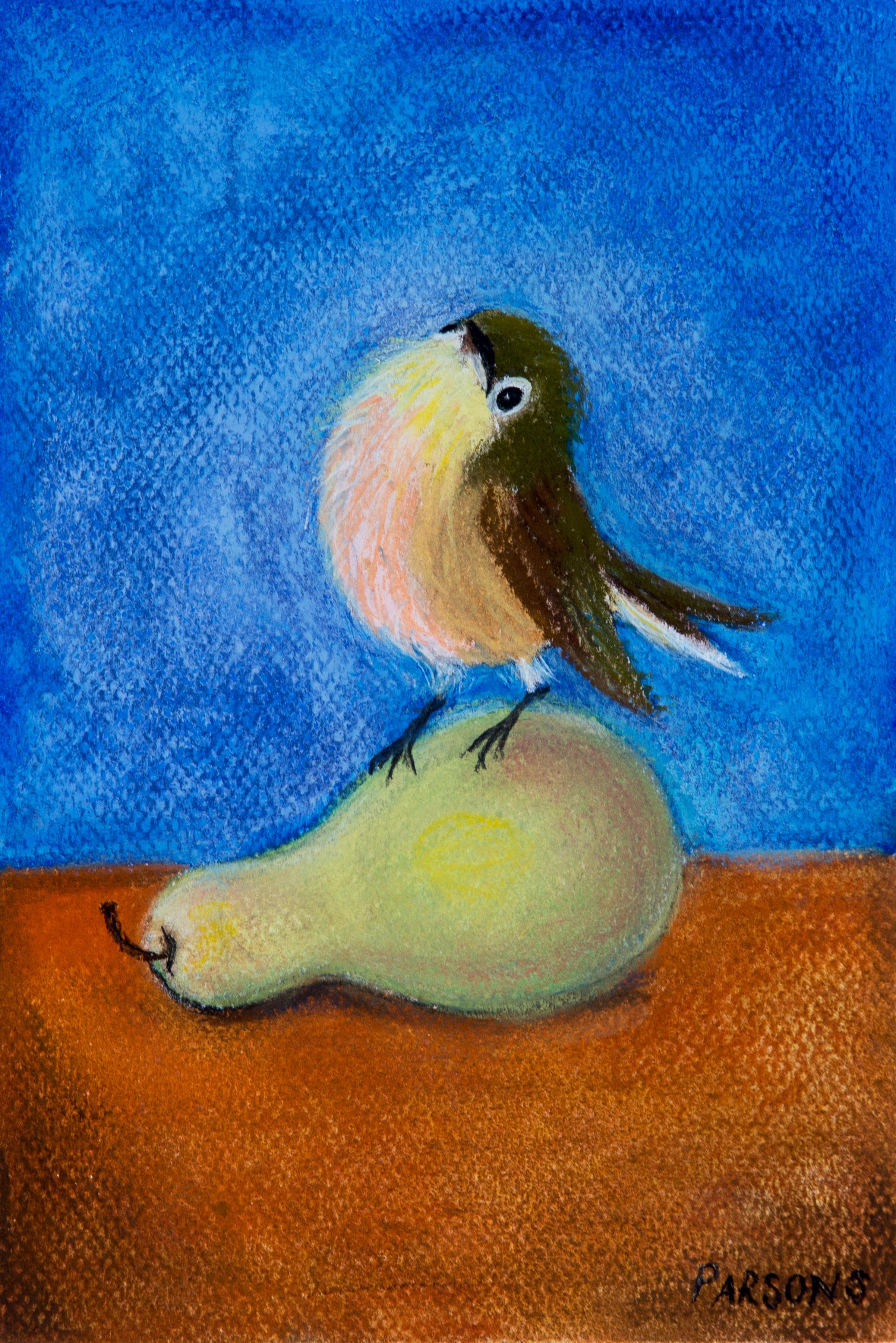 Chickadee with Pear