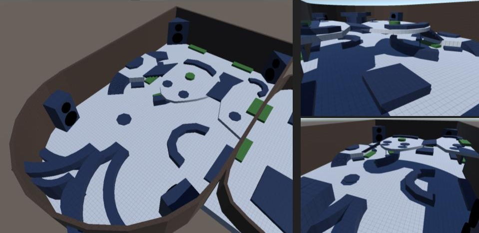 Level 1: The blockout for the main room, areas in blue represent couches, counters, and stairs, while the areas in green represent plant beds, decorations and other non-gameplay influencing assets.