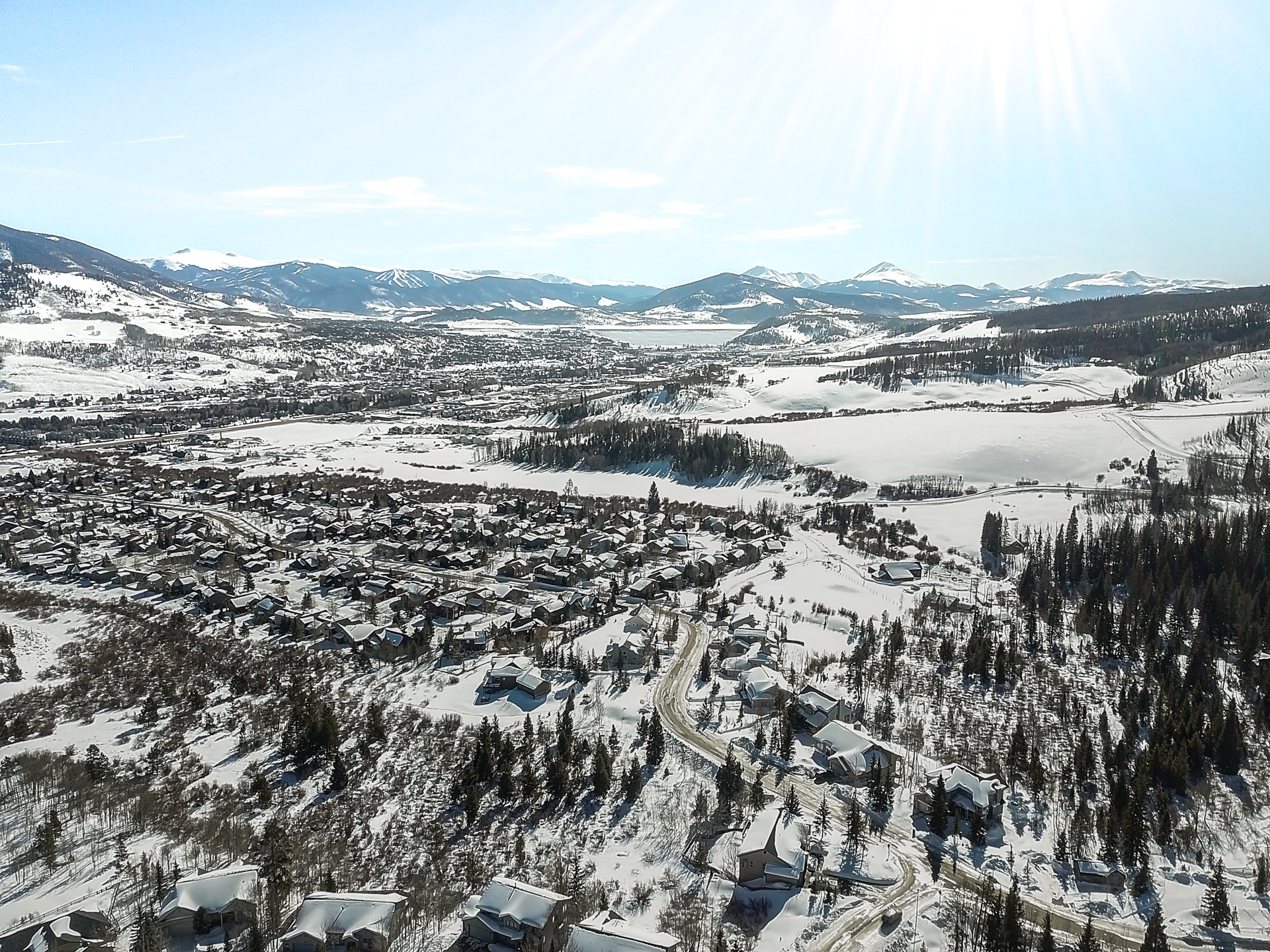 Aerial view of Silverthorne towards Lake Dillon