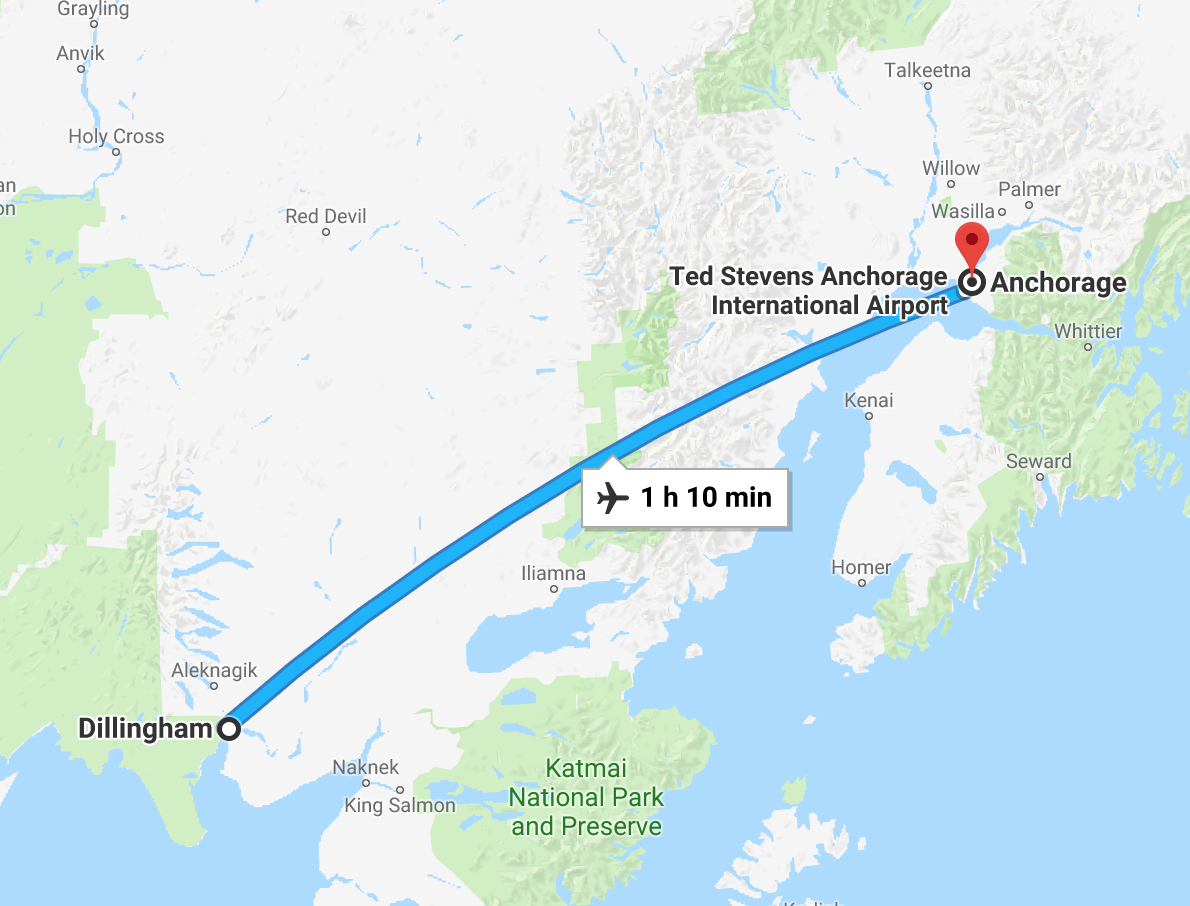 Dillingham is just over an hour's flight from Anchorage.