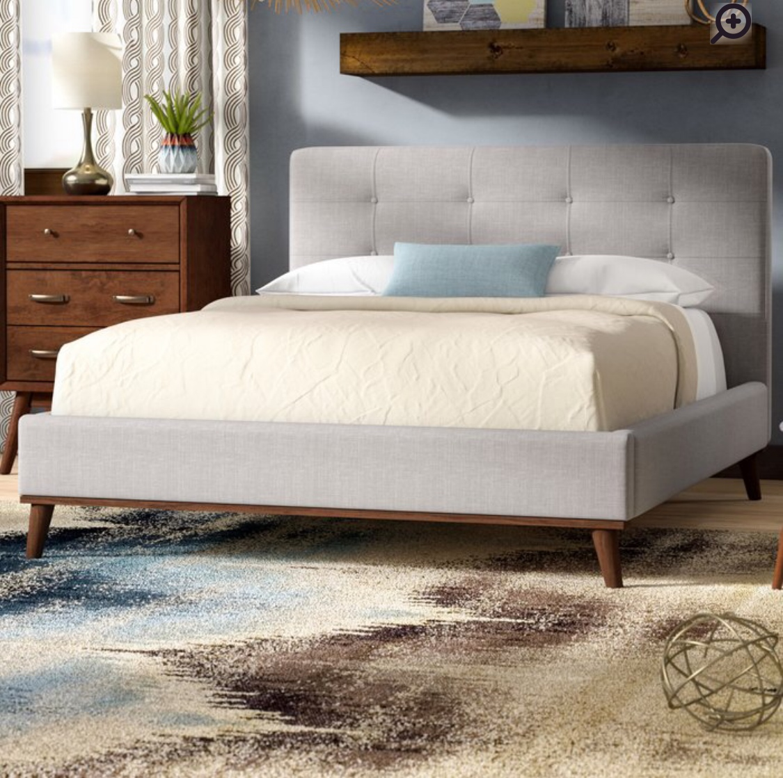 Jeterson Upholstered Platform Bed from Wayfair  in a king