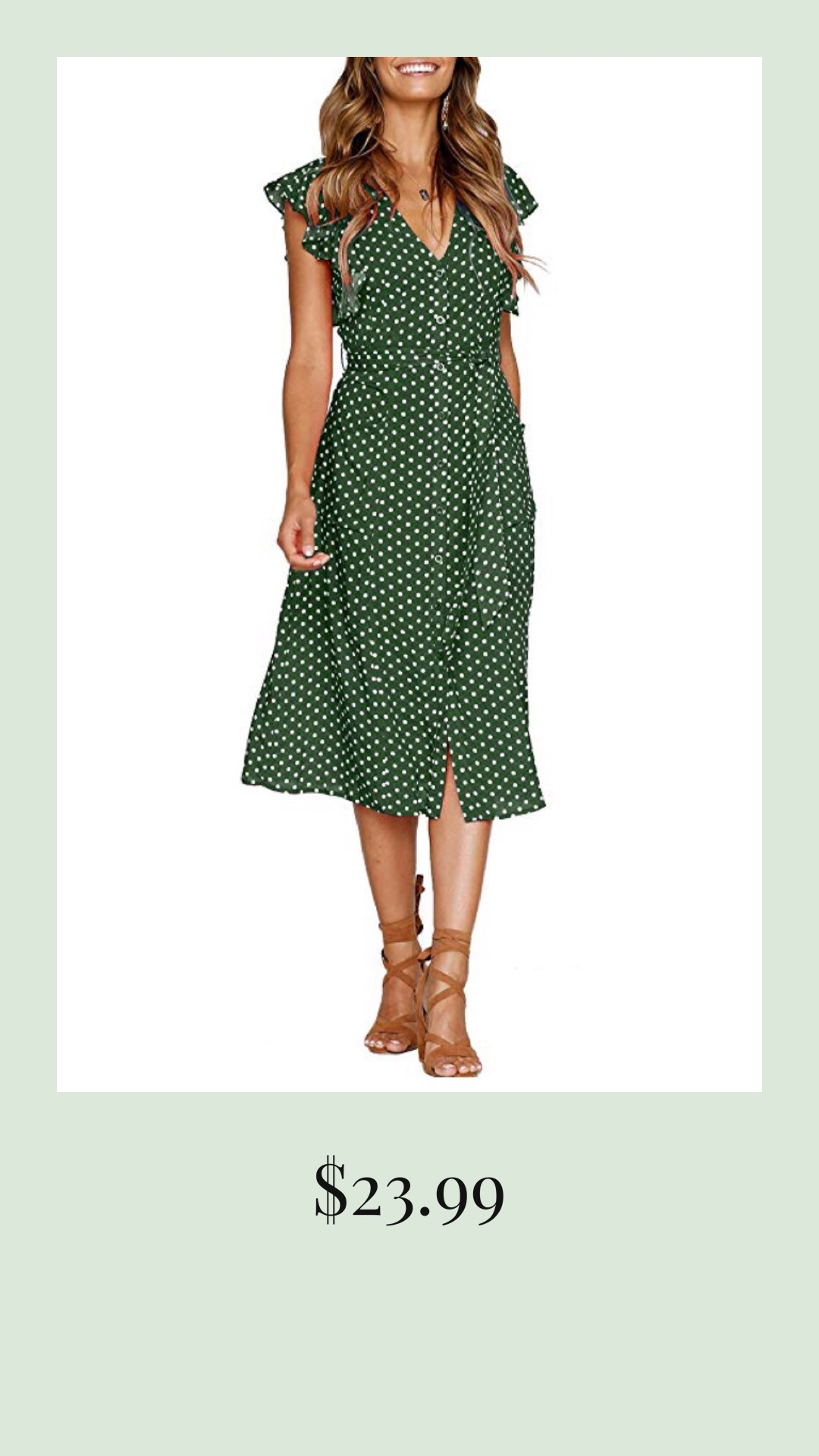 Polka Dot Green Dress