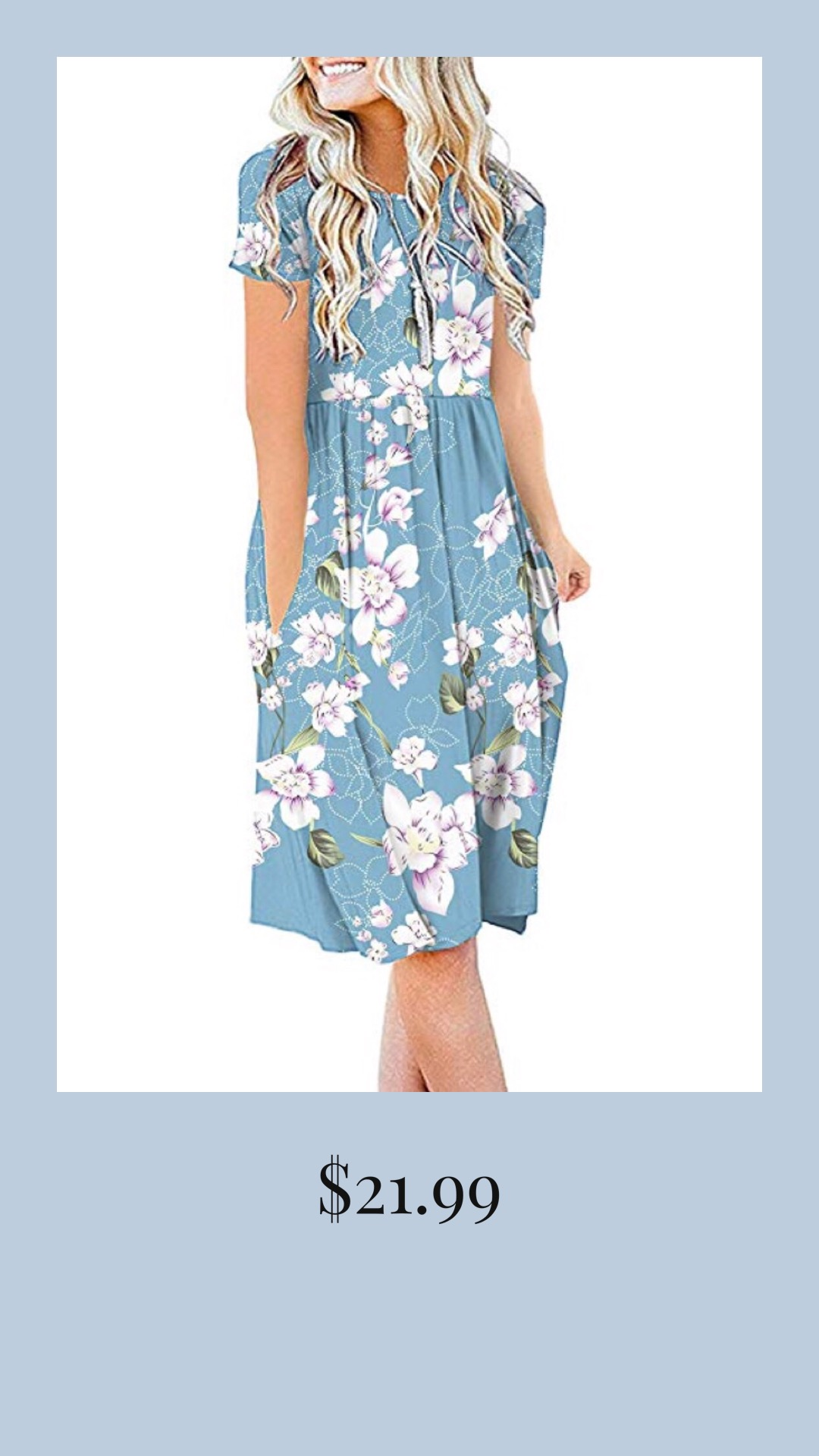 Casual Blue Floral Dress