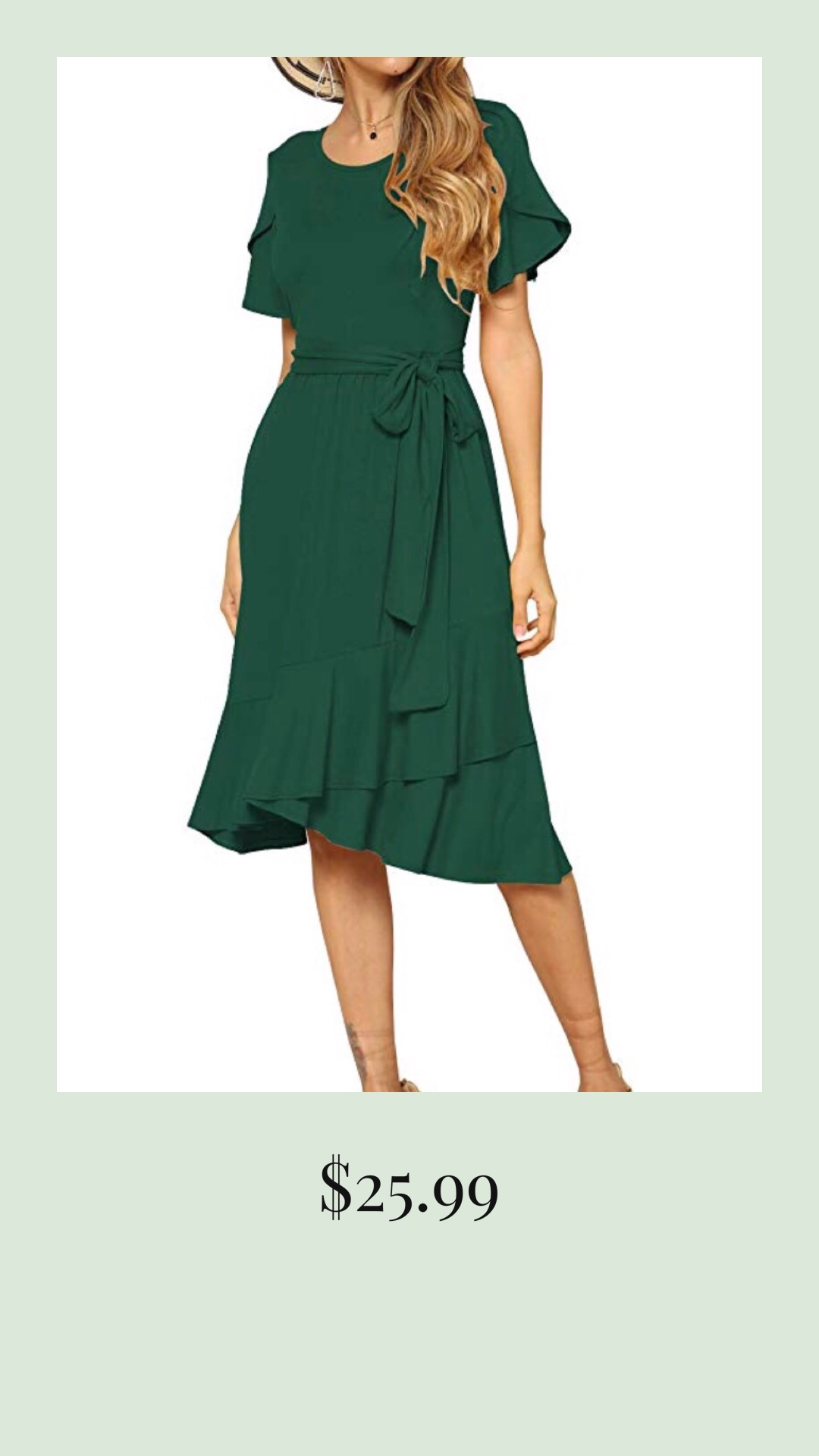 Flowy Mid Length Green Dress