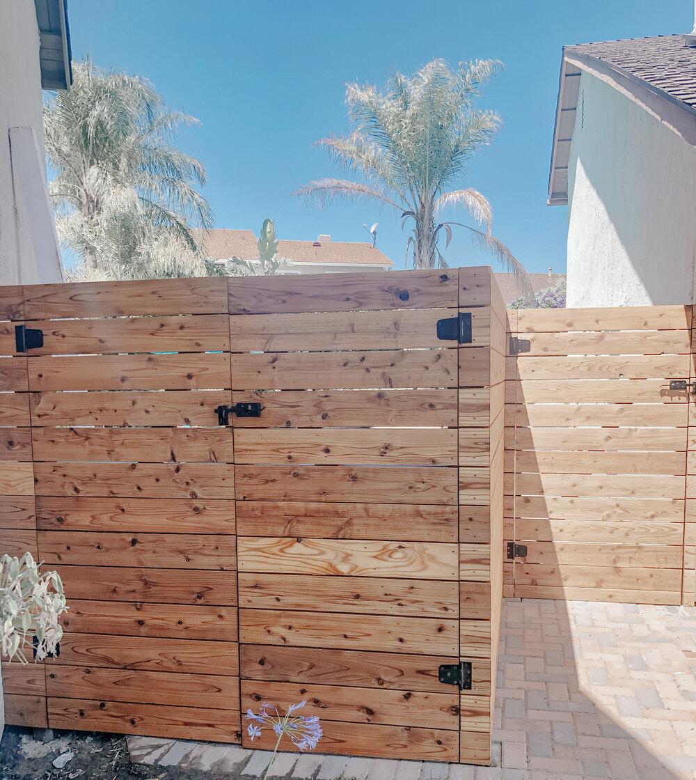 New Modern Fence with National Hardware — Burnett Bungalow