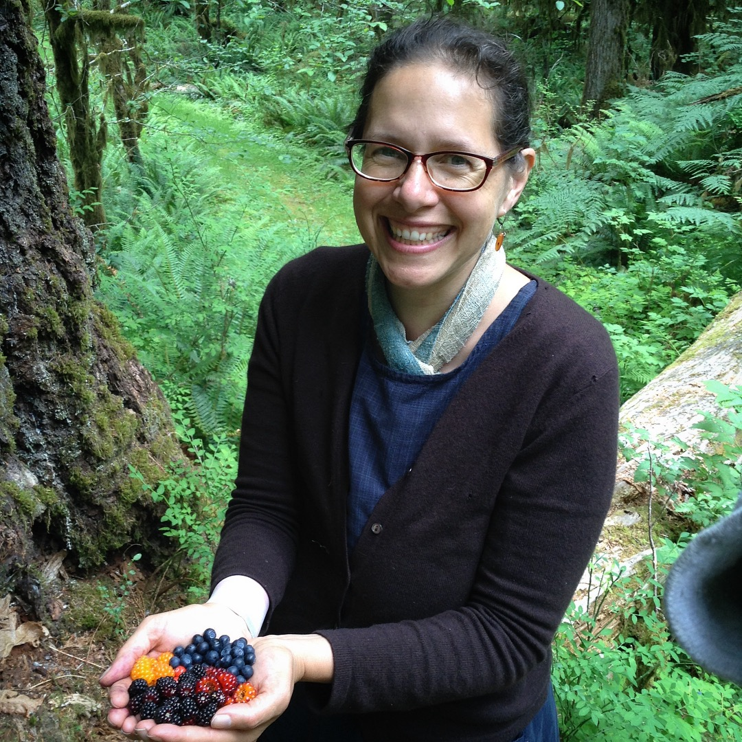 At my happiest with lots of colorful and delicious wild berries. 2018 camping trip in Olympic National Park. (BTW I sewed my dress and dyed my scarf- and yes I hike in dresses…)