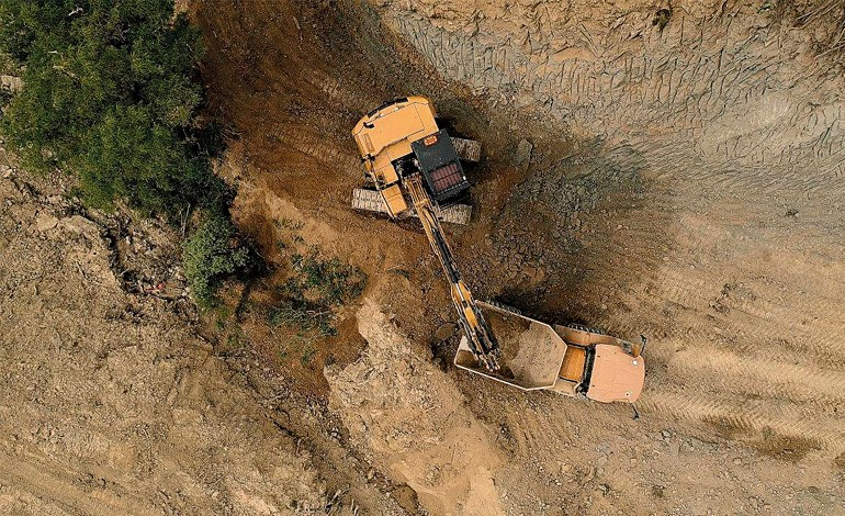 Route 52: Road wash-out reconstruction. Aerial shot taken by one of Tararua District Council's drones as part of a video to provide a sense of the complexity of the project for other team members.