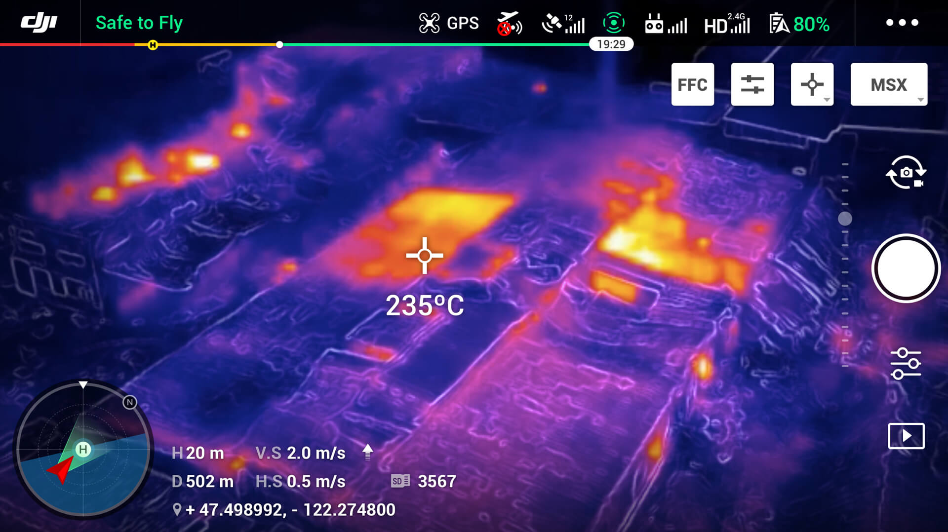 Thermal imagery software helps assess hotspots and pinpoint danger zones.