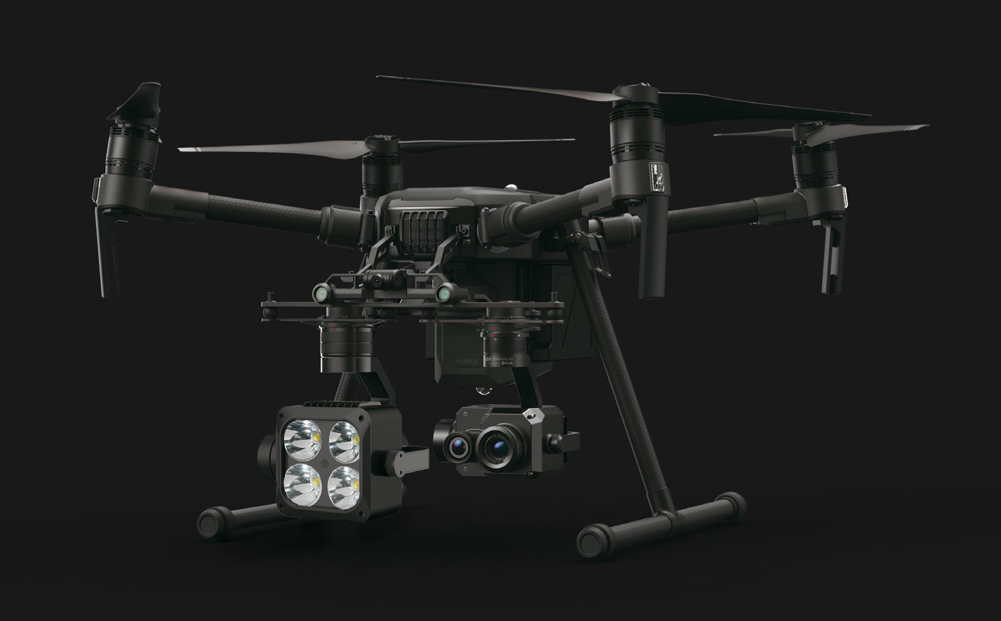 The Wingsland Z15 Gimbal Spotlight mounted to the Matrice