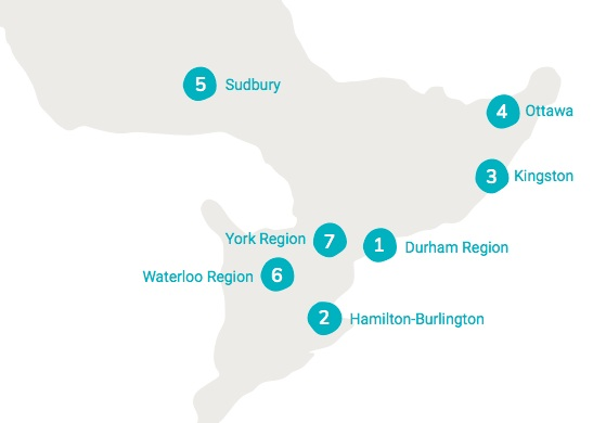 Green Economy Hubs (missing: London ON, launched in May 2019)  Source: Green Economy Canada's 2017/18 Annual Report