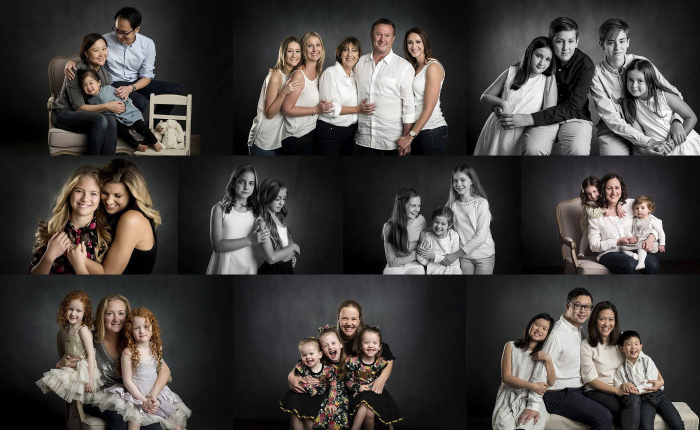 Classic studio - Classically styled photos on our dark backdrop. These are timeless colour & black & white images, capturing your families connection.