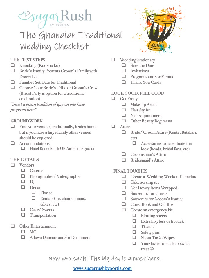The Ghanaian Traditional Wedding Check List Sugar Rush By