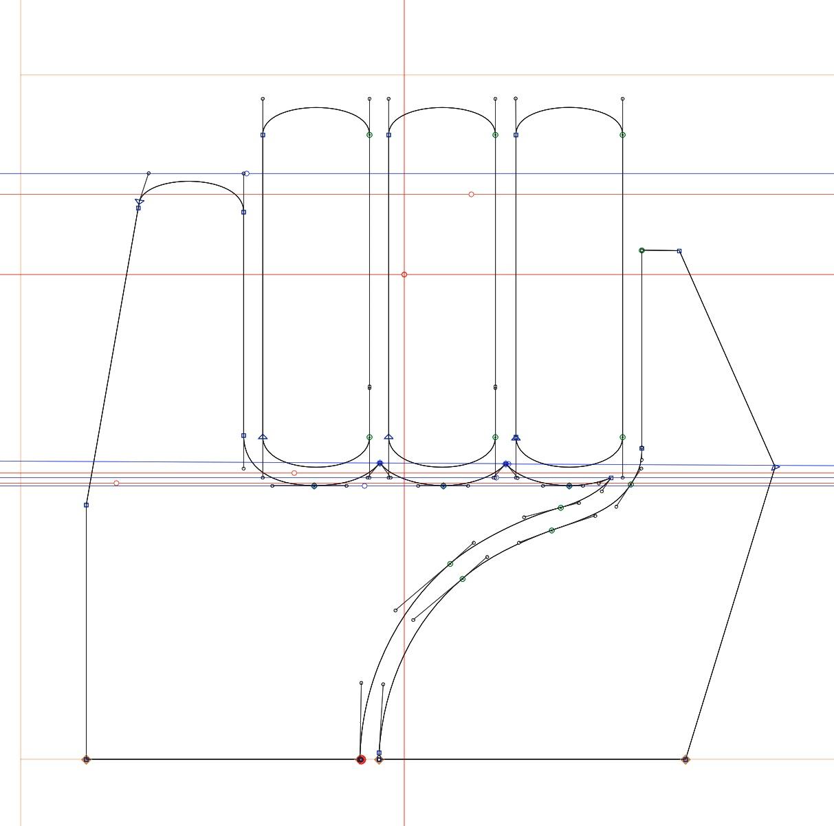 Drawn in  GLYPHS  typepography program. Letter M