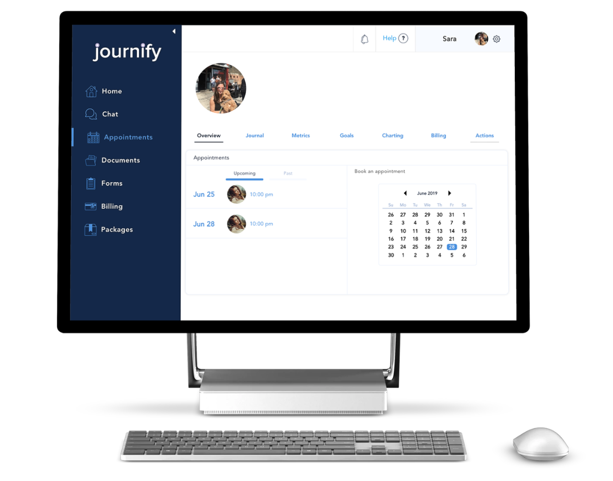 5. Build your personal dashboard and track your progress - Once you book your first session you'll get access to all the features on our HIPAA compliant platform (journaling, goals, alerts, charting, personal metrics, etc).
