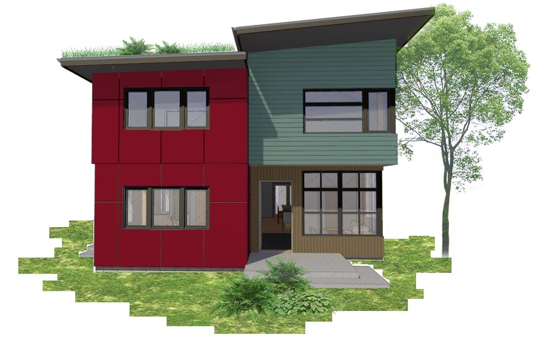 flex·house - An innovative solution for modern living, this single-family home + attached ADU has two 'flex' bedrooms that may swap between the two units. 3 Bed, 1,800 sf home + 2 Bed, 1,000 sf ADU