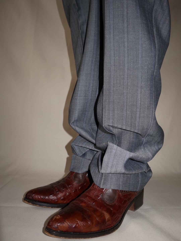 stripe pant & cowboy boots