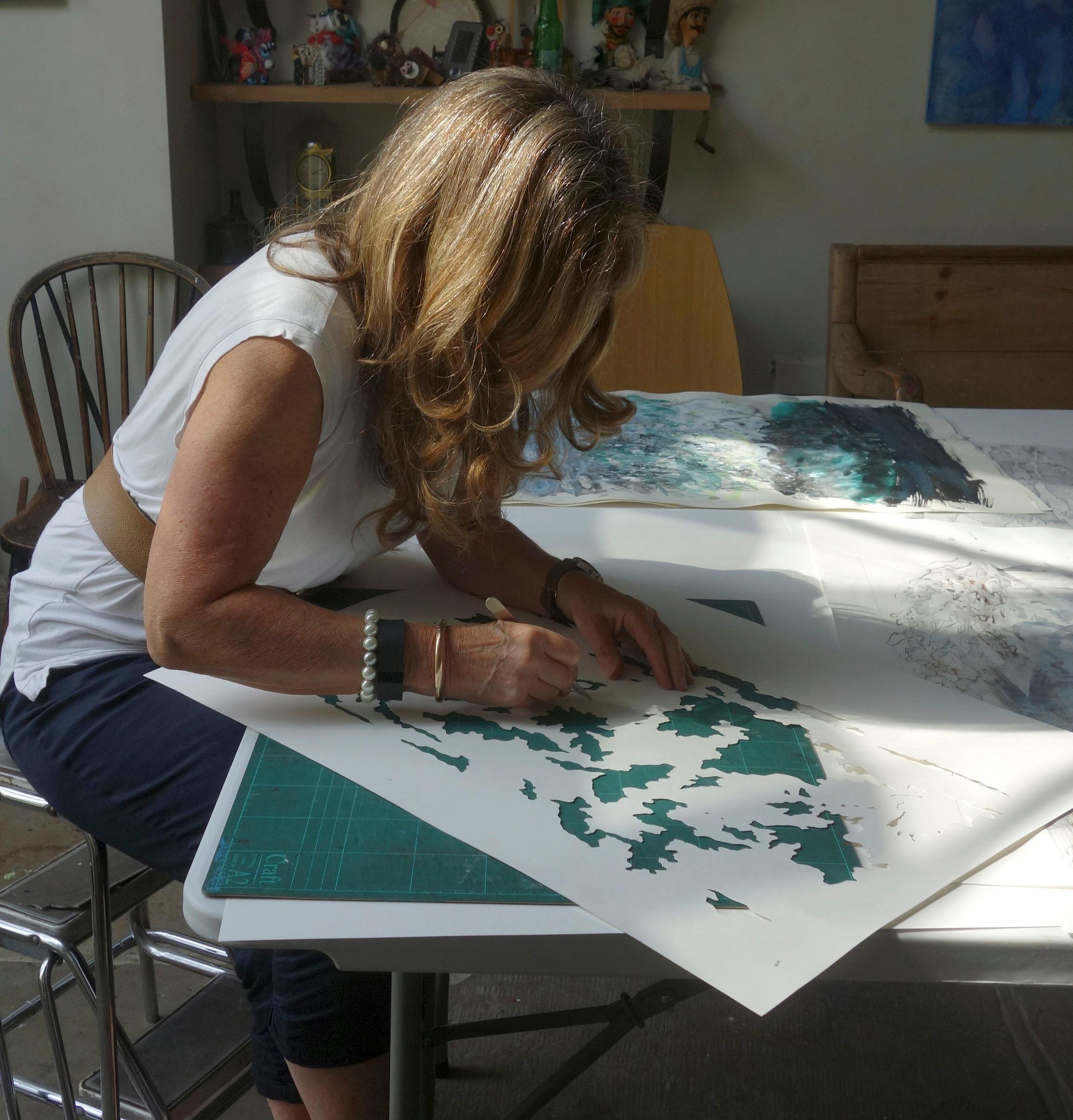 Stencil cutting in studio