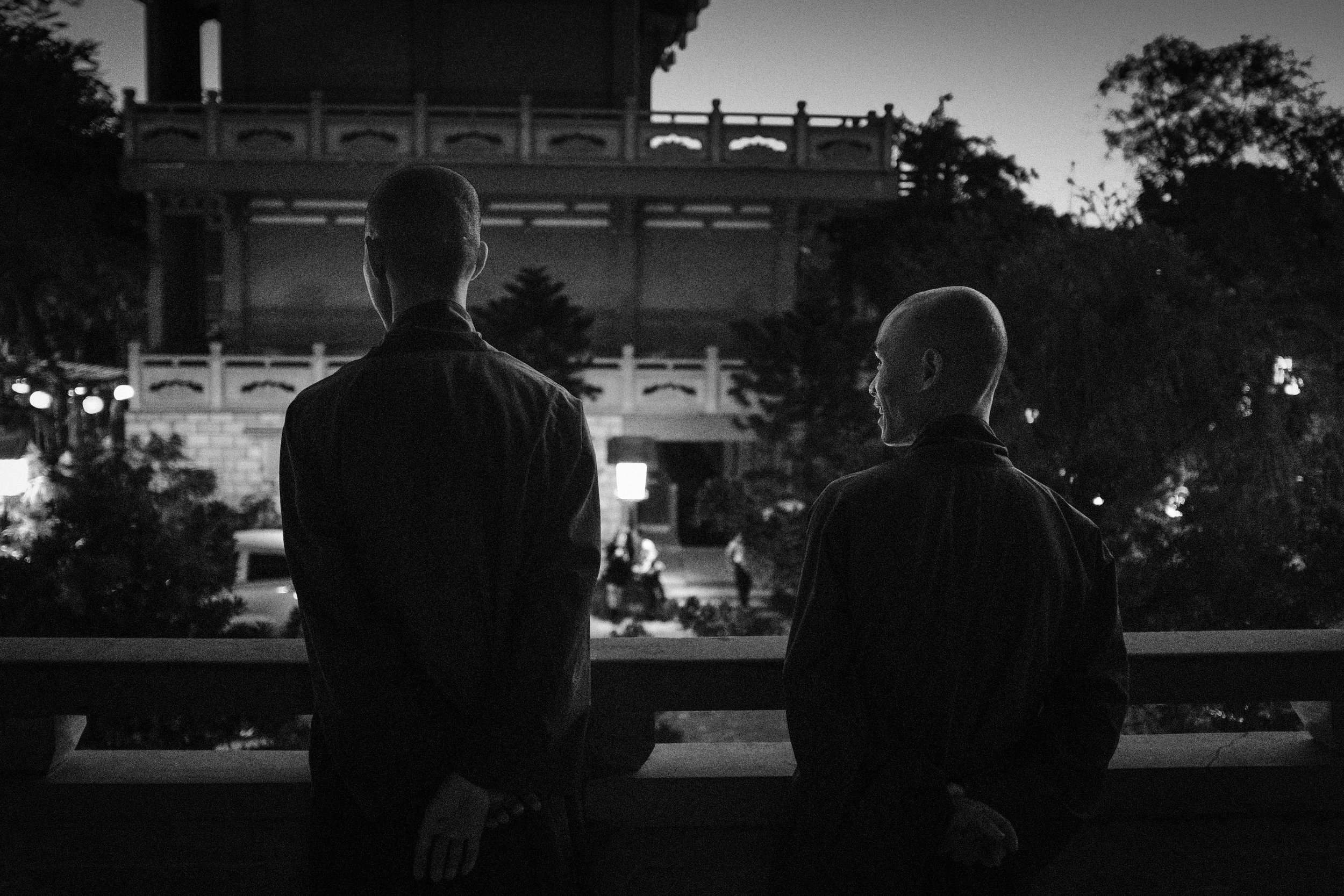 Two monks at night