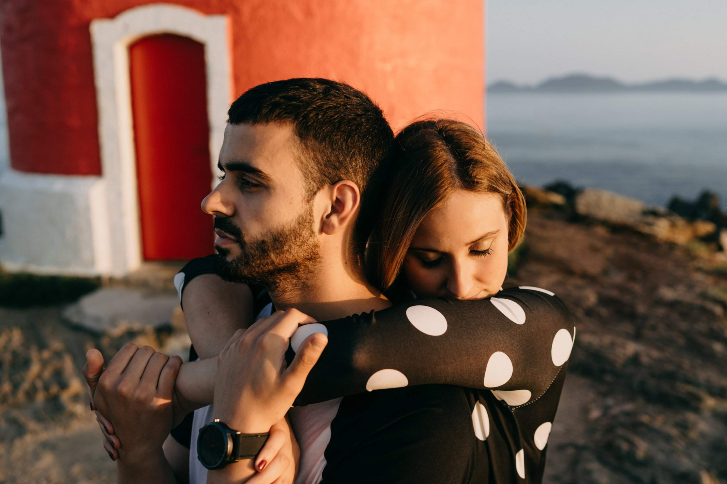 Engagement at lighthouse in Spain
