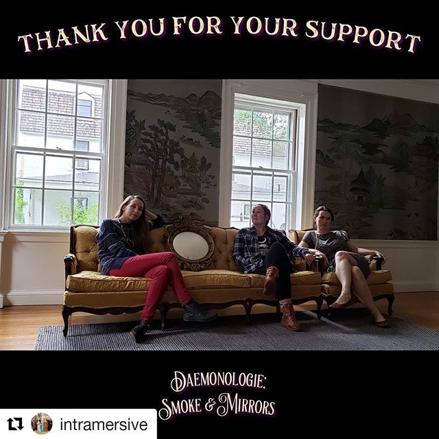 Thank you to everyone who has pitched in so far! This couch and matching chair, the truck we rented to pick them up (and few other surprises) are all thanks to you who have supported us.  #Repost @intramersive (@get_repost) ・・・ Today we moved in some amazing new furniture furnished by your Indiegogo donations!  It's so exciting to see the house fill up but we need more help! Check out our indiegogo link in bio for new perks being added!  Can't help right now? We get that, spread the love by sharing our campaign on social media! Tell your friends!  Shout out to the #squad for helping move in before the rain 🌧 @carynmb , @whitelywanton , @ghostsbooksandcats and our fearless leader @girlondwyer (she not appearing in this pic cause she took it) #girlpower  #thankyou #thanks #indiegogo #indiegogothanks #praise #🙏 #🙌#intramersive #immersive #immersivetheater #theatre #larp #rpg #escaperoom #crowdfunding #witchesofistagram  #larpersofinstagram #theatre #salem #salemmassachusetts  @creativecollectivema @creativenorthshore @peabodyessex #creativecollective  #daemonologie #historical @indiegogo #crowdfunding #victorianhouse #victorianfurniture