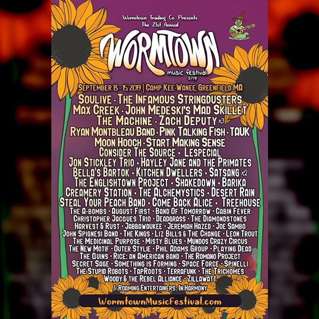 TODAY we join @officialsoulive, @stringdusters, @johnmedeski, @zachdeputy, @taukband, @pinktalkingfish, @moonhooch, @lespecialmusic, @considerthesourcemusic, and so, so many more at #Wormtown2019 . . . . . See you real soon, #Massachusetts family 😎 #wormtown @wormtowntrading #mass #campkeewanee #keewanee #kewanee #campkewanee