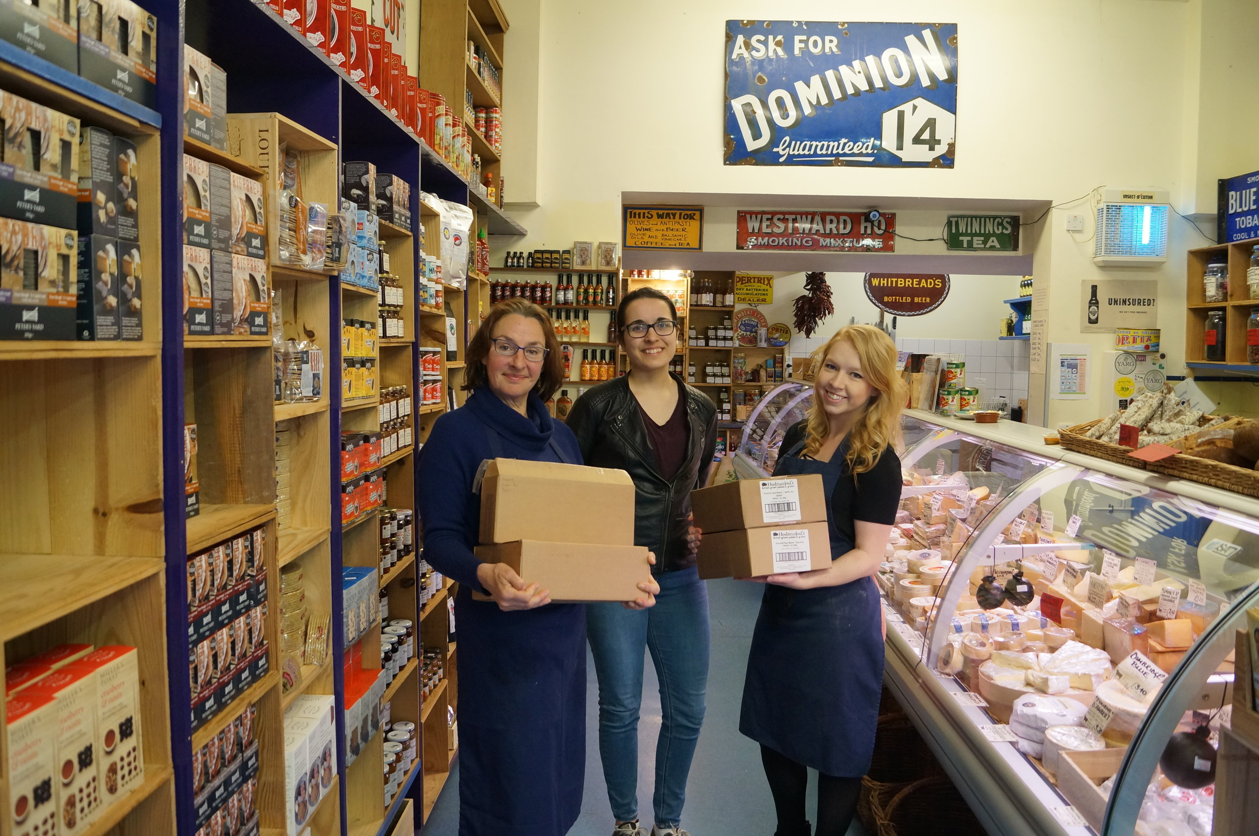 Members of the Cambridge Food Hub team celebrate their first delivery day.