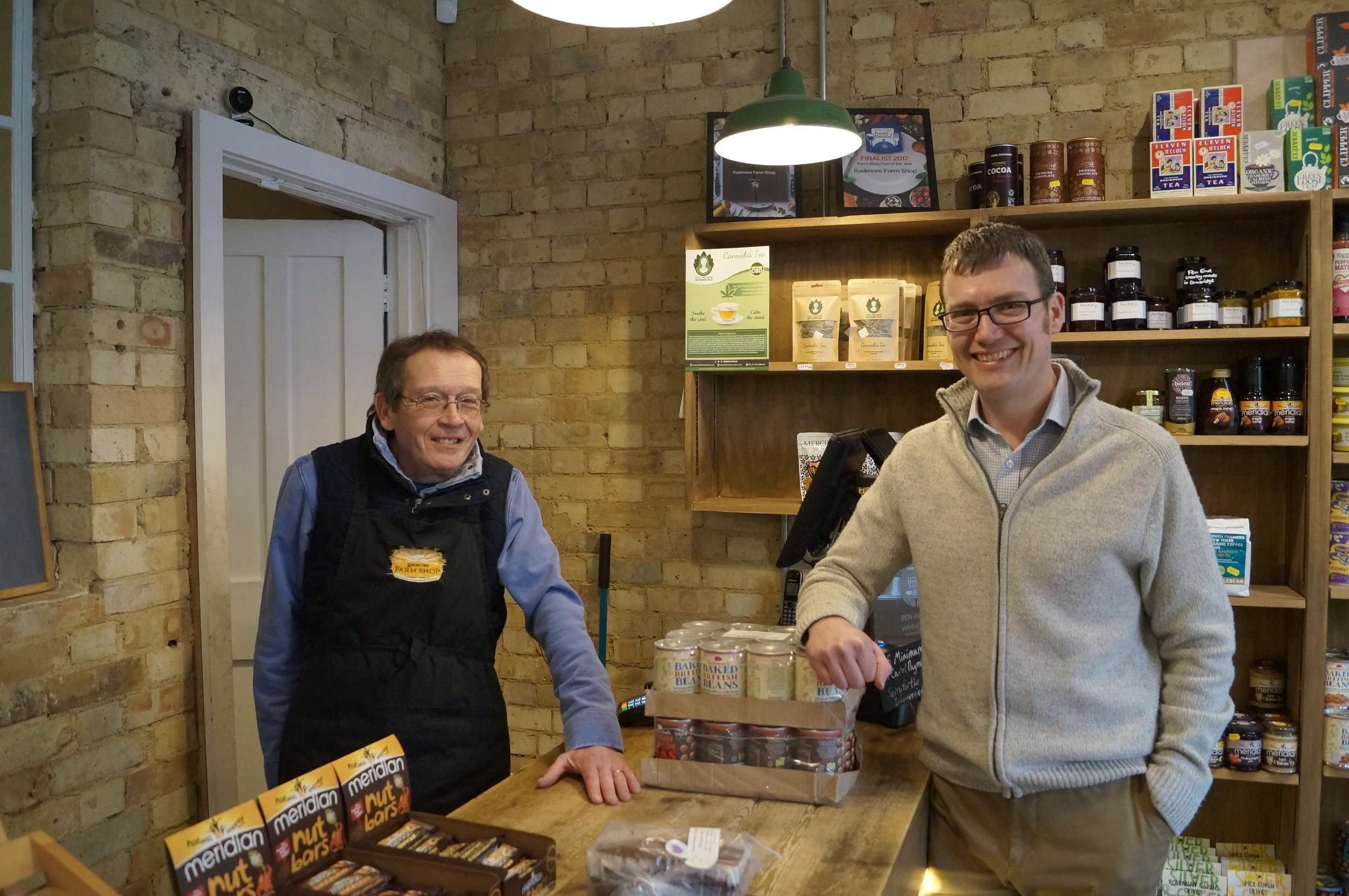 Project leader Duncan Catchpole from the Cambridge Organic Food Company (right) and his team were delighted with the Cambridge Food Hub's successful launch.