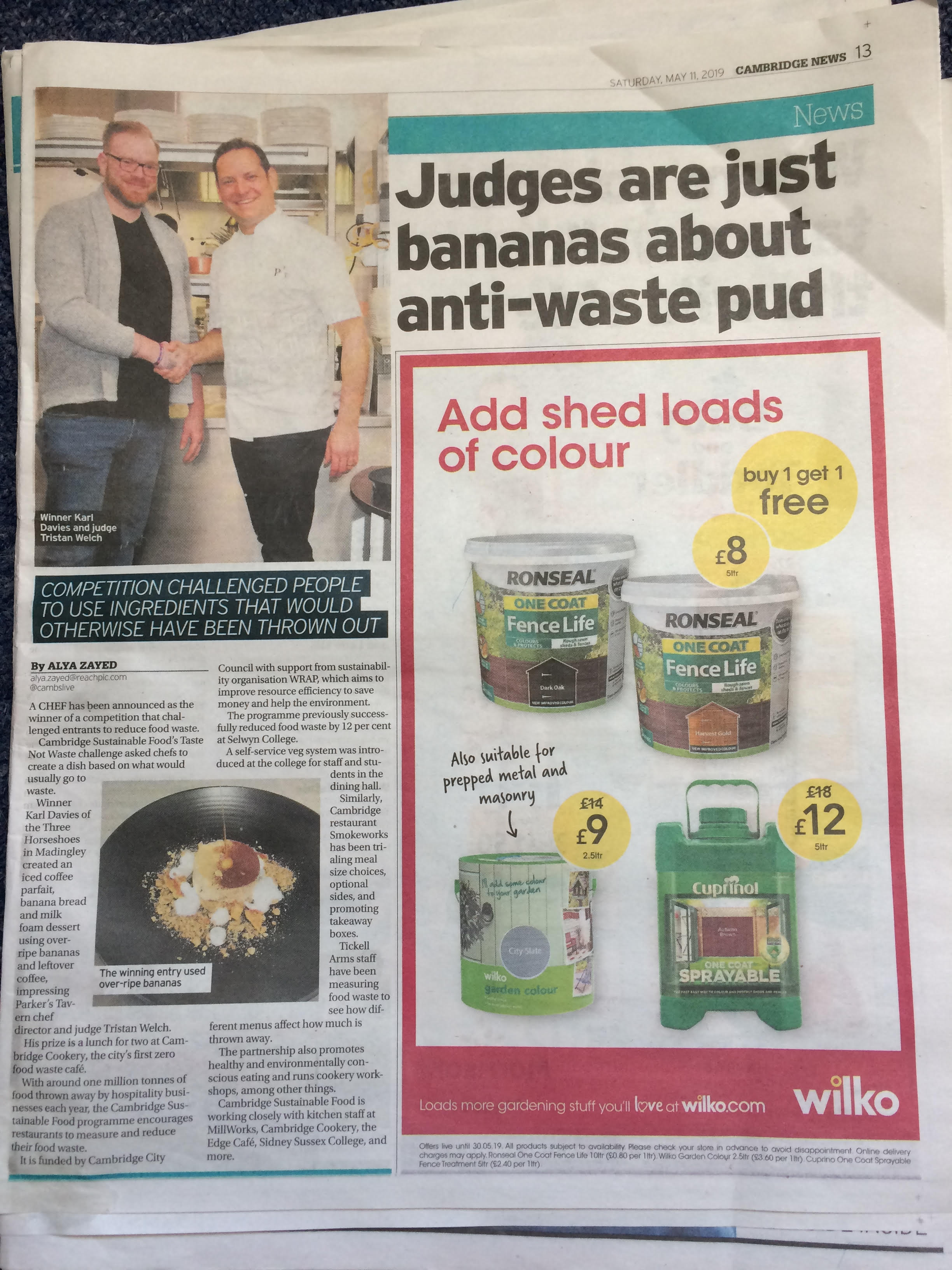 Our winner's story featured in The Cambridge Independent on 11th May 2019.