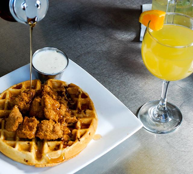 Mom, I love you a waffle lot! 💛 Mother's Day brunch buffet today includes chicken & waffles and more! Complimentary mimosa 🍊🥂 for mom!