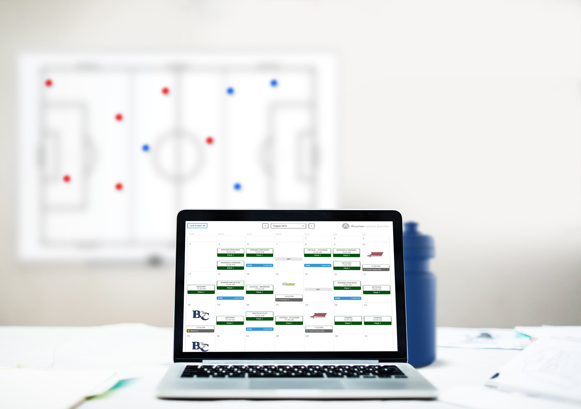 Scheduling - Be more organised and prepared by planning your training sessions, gym sessions, matches and off days. Know your training attendance pre-training, making your planning for training more meticulous and carefully thought off.