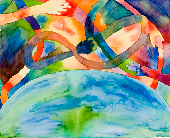 "My watercolor paintings are filled with vivid colors and energy. There is a feeling of whimsy to many of them, and a sense of joy in all of them. These paintings are about coming together, about celebrating, and about seeing and savoring the details of our days.   Across the World    16"" x 20"""