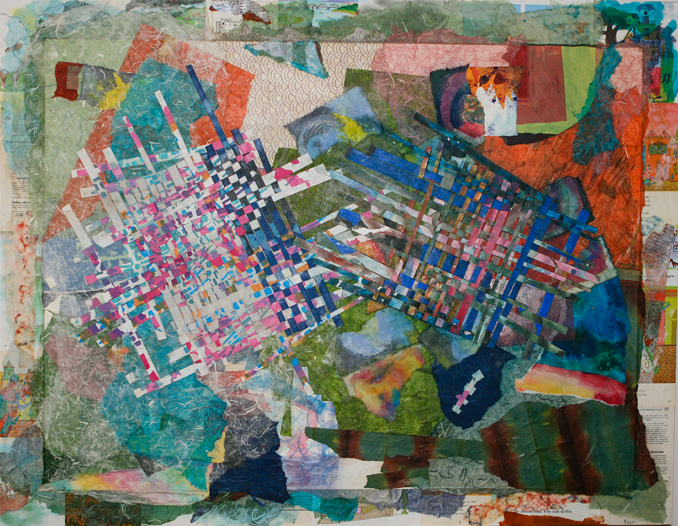 """I create the weavings by attaching tiny watercolors together in long strips, then weaving them on looms I make from frames. The collages are made with handmade papers, along with papers that I paint. I also use metal, canvas, ribbon and fabric in these pieces, and some of them incorporate empty space. It can be challenging to leave an area of a painting without color, or to make a woven structure that is not entirely filled in, and what's interesting to me is how each of us """"fills in the blank.""""   Handshake    36"""" x 46"""""""