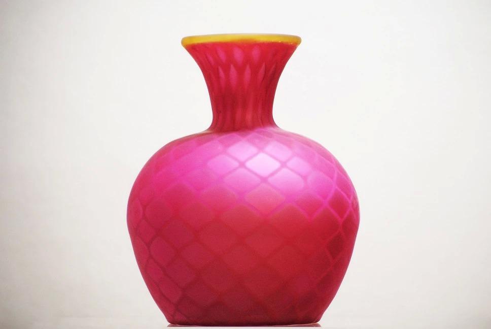 Raspberry glass vase