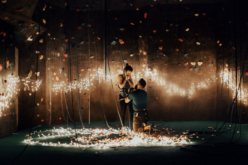 Source:    India Earl    If you both enjoy sports and cannot live without them, then consider the option of trying something new with your partner and making the proposal extraordinary. Couples who sweat together, stay together!