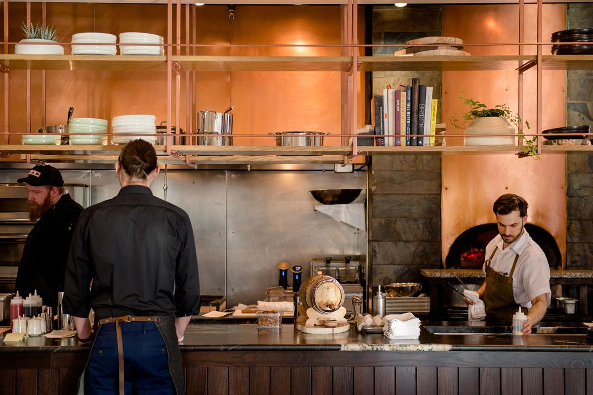 kitchen at bison restaurant in banff