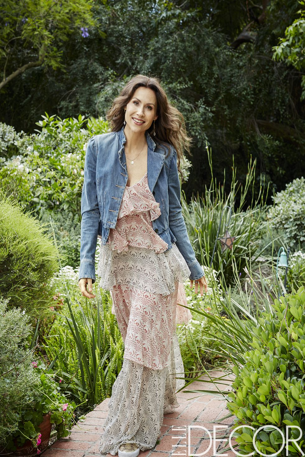 Minnie Driver in the garden of her home in Los Angeles, a 1940s ranch housedecorated by    Peter Dunham   .