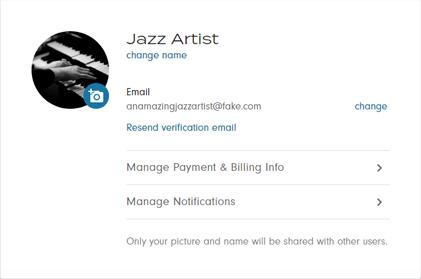 user profile account page