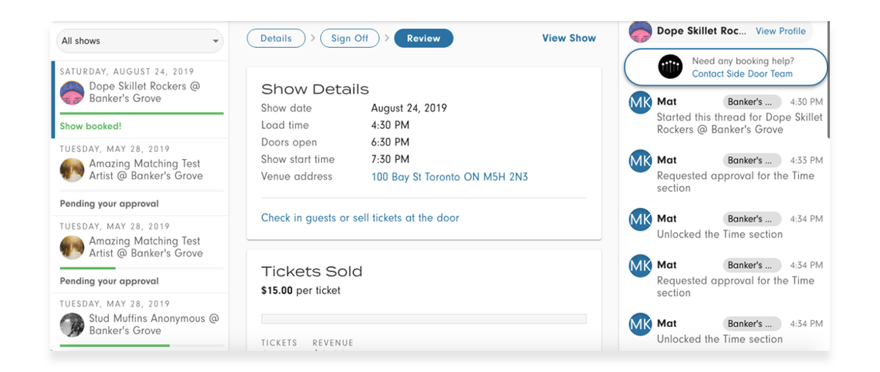 The new 'review' tab contains important details for booked shows. (click/tap image for full screen)