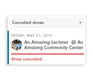 Move unwanted shows to the 'cancelled shows' tab and clean up your shows list