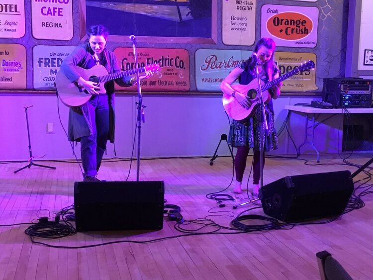 Piper Hayes and Annie Sumi at Liberty Memorial Hall